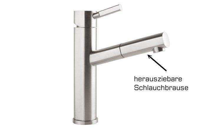 Küchenarmatur Como Shower Style in Edelstahl massiv ChromOptik