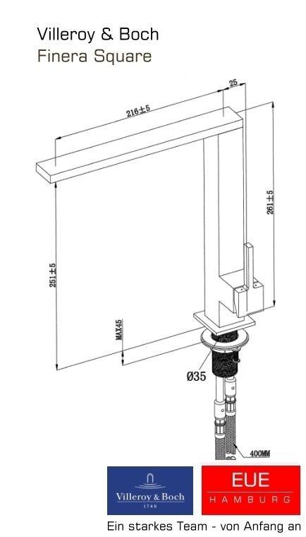 küchenarmatur finera square hd in edelstahl massiv matt - Villeroy Und Boch Küchenarmaturen