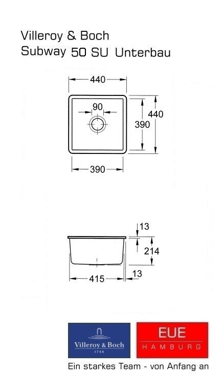 villeroy und boch keramiksp le unterbausp le subway 50 su skizze und. Black Bedroom Furniture Sets. Home Design Ideas