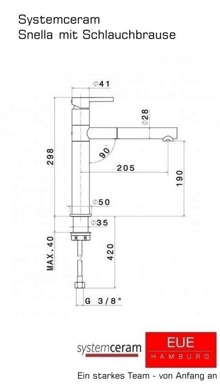 Küchenarmatur Snella HD mit Schlauchbrause von systemceram